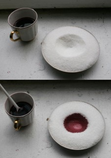 Image: Red wine on sugar, cafe gesture © Martha Lyons