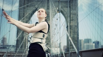 'Human Harp' Image, taken by Martin Noboa (featuring dancer Hollie Miller pictured on the Brooklyn Bridge)