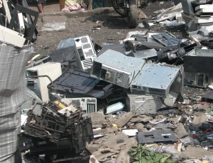 Image: electronic waste from Europe at a market in Lagos, Nigeria, 2013. Photo by Dani Ploeger